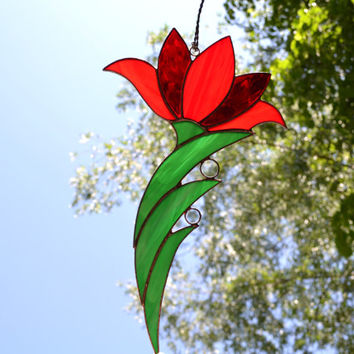 Stained Glass Flower Suncatcher, Stained Glass Red Lily Art Glass, Window Hanging Decoration or Wall Decor