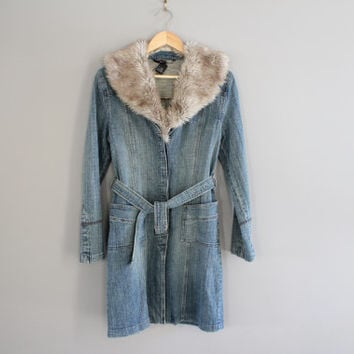 Long Denim Coat Blue Washed Faux Fur Collar Jeans Jacket Button Up Denim Coat Jeans Coat 90s Grunge Vintage Size S - M