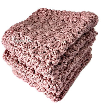 Handmade Dish Cloths Rose Pink Wash Cloths Crochet Kitchen Dishcloths Eco Friendly Cotton Shabby Set of 3