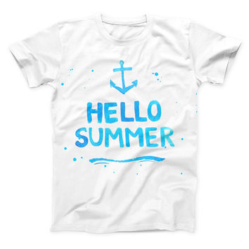 The Hello Summer Blue Watercolor Anchor V1 ink-Fuzed Unisex All Over Full-Printed Fitted Tee Shirt