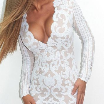 Play Date White Beige Sequin Long Sleeve Plunge V Neck Asymmetric Hem Bodycon Mini Dress
