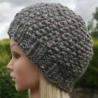 Hand Knit hat- Women's hat- Slate tweed- beanie- winter hat- Rustic Mega Chunky with wool- women accessories