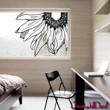 Wall Decal Decor Decals Sticker Art Sunflower Flower Moroccan Angle Nature Plant Sleeping Room Glass Window M1593 Maden in USA