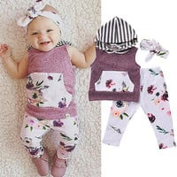 NEWBORN GIRL THREE PIECE OUTFIT - 0 TO 18M
