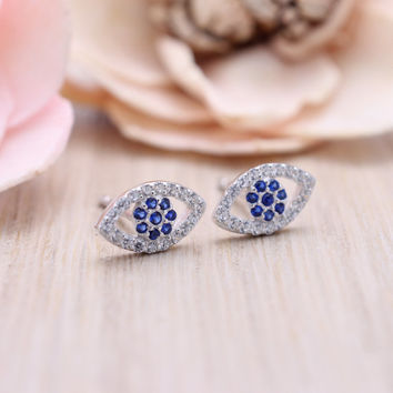 925 sterling silver cubic zirconia open evil eye stud earrings