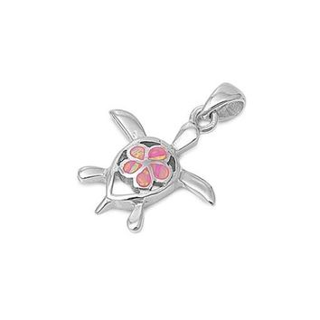 Sterling Silver Turtle Pendant with Pink Opal Plumeria Center