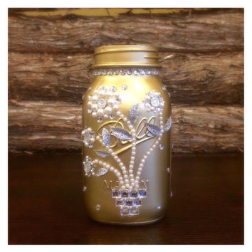 Gold Mason Jar, Gold Wedding Mason Jar, Gold Wedding Centerpiece, Golden Anniversary decor, 50th Anniversary Gift, Rustic Mason Jar wedding