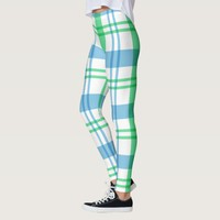 Blue Green White Plaid Pattern Leggings