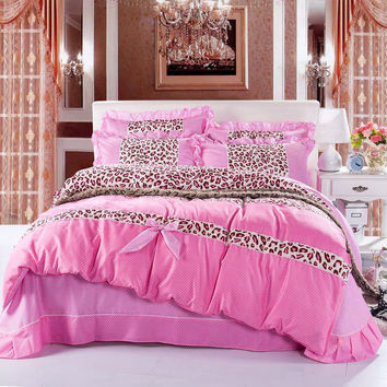 YADIDI Princess Leopard Classic  Bedding Set Textile Ruffles Bow Bedclothes Pink Red Blue Purple Home High quality
