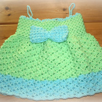 spring green & sky blue baby crochet summer sun dress toddler girls dresses girl clothes spaghetti straps gifts online 12 -18m