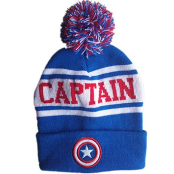 Cartoon Cotton wool knitting Super Hero Captain Five-pointed shield Cap autumn winter Soft Warm hat fit for Adult Kid with Pom