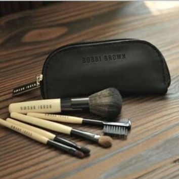 BOBBI BROWN 5PCS MAKEUP BRUSH SETS WITH LEATHER BAG