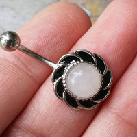 Round Rose Quartz Silver Belly Button Ring Jewelry