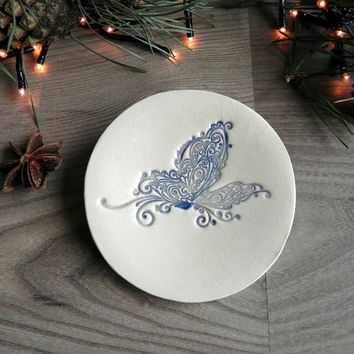 Butterfly Lace Ceramic Dish Navy Blue White Pottery Ring Holder Romantic Round Plate