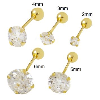 14K Solid Yellow Gold Round Cut CZ Stud Earrings 2mm-6mm Ladies Mens Kids Baby