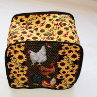 Toaster Cover - 4-Slice Metal Classic Toaster Cover - Kitchen Accessory Cover - Roosters and Sunflowers
