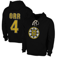 Bobby Orr Boston Bruins Old Time Hockey Malcolm Skate Lace Alumni Hoodie – Black