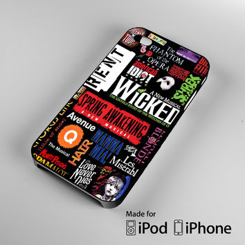 Broadway Musical Collage iPhone 4 4S 5 5S 5C 6, iPod Touch 4 5 Cases