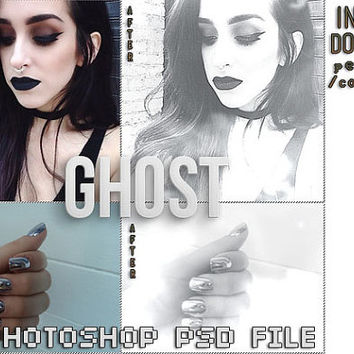 "Photoshop PSD Coloring File Instant Download Photo Effects Actions ""Ghost"" Pale White Goth Grunge Resources Edit Black/White Color"
