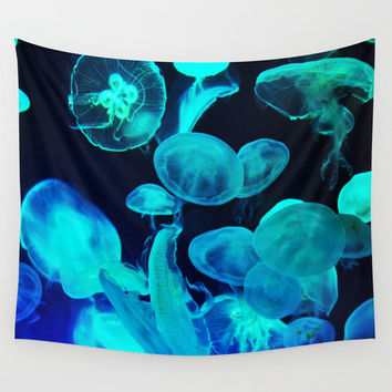 Blue Moon Jellyfish - Wall Tapestry, Ocean Nautical Wall Art Hanging, Black Decorative Throw Cover. Available in 51x60 / 68x80 / 88x104 in.