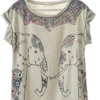 Lovely Elephant Impression T-shirt For Her Gray