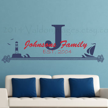 Nautical family monogram wall decal, wall words sticker, decal, wall graphic , typography, vinyl decal