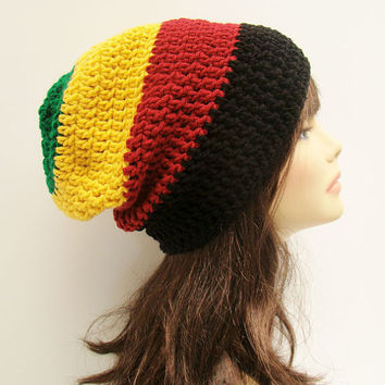 FREE SHIPPING - UNISEX Slouchy Crochet Beanie Hat - Rasta - Red, Yellow Gold, Green, Black