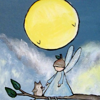 Woodland Fairy Original Kids Wall Art, Nursery Room Decor Fun Whimsical Artwork