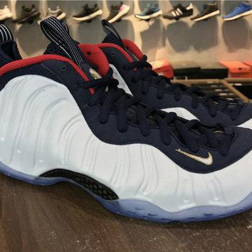 2018 Original Nike Air Foamposite One Pro Olympic 575420-400 obsdn white-unvrsty rd-metllc Brand sneaker