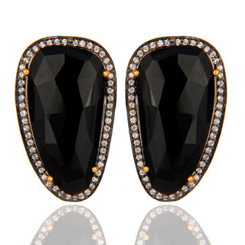 Faceted Natural Black Onyx Gemstone Gold Plated Sterling Silver Stud Earrings
