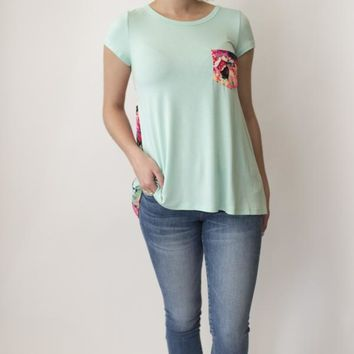 Floral Back Detail T-shirt - Mint