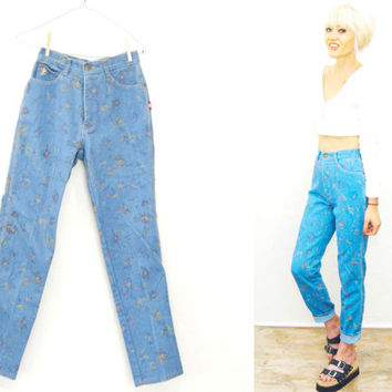 90s Floral High Rise Waist Denim skinny Jeans / Pants / trousers / Cigarette Skinny Leg small xs 25 26