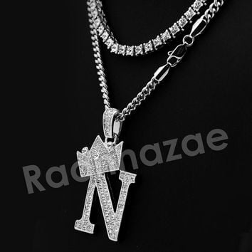 Iced Out Crown N Initial Pendant Necklace Set.