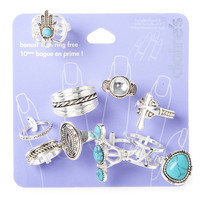Silver and Turquoise Rings Set of 10