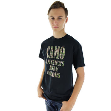 Mens Black Short Sleeve T Shirt With Camo America's Away Colors