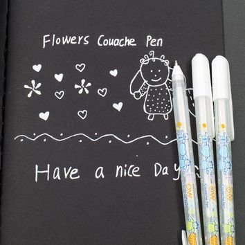 1pcs Sell Hot Quality White Ink Color Photo Album Gel Pen Stationery Office Learning Cute Unisex Pen 0.8MM Writing Supplies