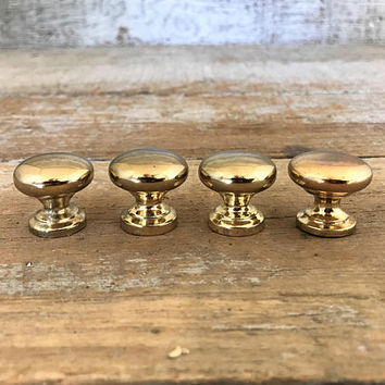 Drawer Knobs 4 Small Drawer Pulls Small Brass Knobs Dresser Knobs Cabinet Door Knobs Home Improvement Mid Century Hardware Gold Knobs