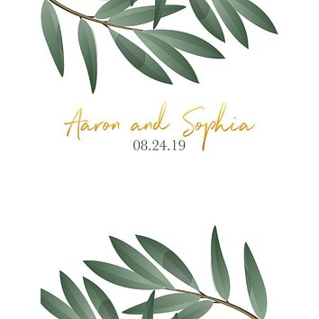 Eucalyptus Leaves Greenery Wedding Theme Backdrop (Any Color) Background - C0255