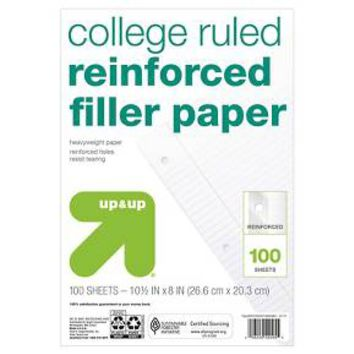 "Filler Paper, College Ruled, 100pgs, 8.5"" x 11"" - up & up™ : Target"