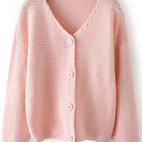 Pink V Neck Long Sleeve Buttons Knit Sweater