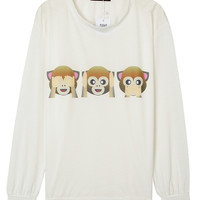 White Monkey Printed Sweatshirt