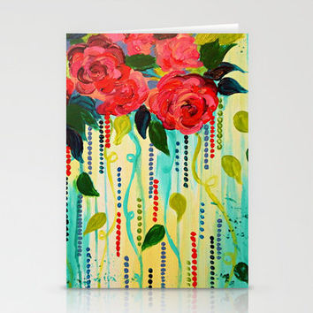 ROSE RAGE Stunning Summer Floral Abstract Flower Bouquet Feminine Pink Turquoise Lime Nature Art Stationery Cards by EbiEmporium