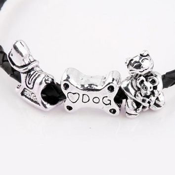 New Silver Plated Bead Charm Vintage Love Dog Bone Wooden Horse Fortune Cat Bead Fit P