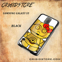 C3PO Hello Kitty Star Wars Black White Snap On 3D For Samsung Galaxy S5 Case