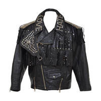 "Amazing Jean Paul Gaultier ""LOVE HATE"" Motorcycle Leather Jacket 1980's"
