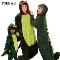 Animal pajamas one piece Family matching outfits Adult Onesuit Mother and daughter clothes Totoro Dinosaur Unicorn Pyjamas women