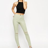 ASOS Rivington Jegging In Washed Mint With Displaced Knee Rips