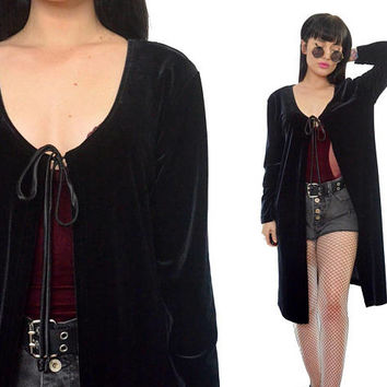 vintage 90s black velvet duster jacket ultra draped tie front vamp witchy gothic minimalis soft grunge jacket medium