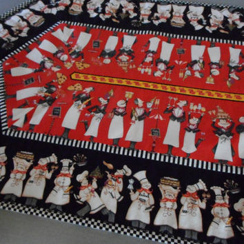 Bon Appetit Chef Quilted table runner, Dining room decor parisian, red black kitchen linen, pastry chef fat italian, fat chef kitchen decor