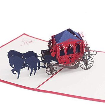 Carriage Pop Up Card, Funny Birthday Cards, Wedding Greeting Thank You Card, Anniversary Gifts - Free Shipping
